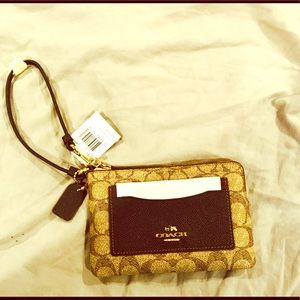 COACH wristlet brown color NWT